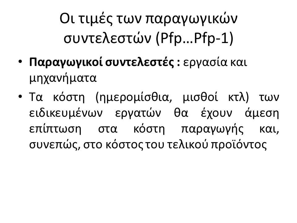 Οι τιμές των παραγωγικών συντελεστών (Pfp…Pfp-1)