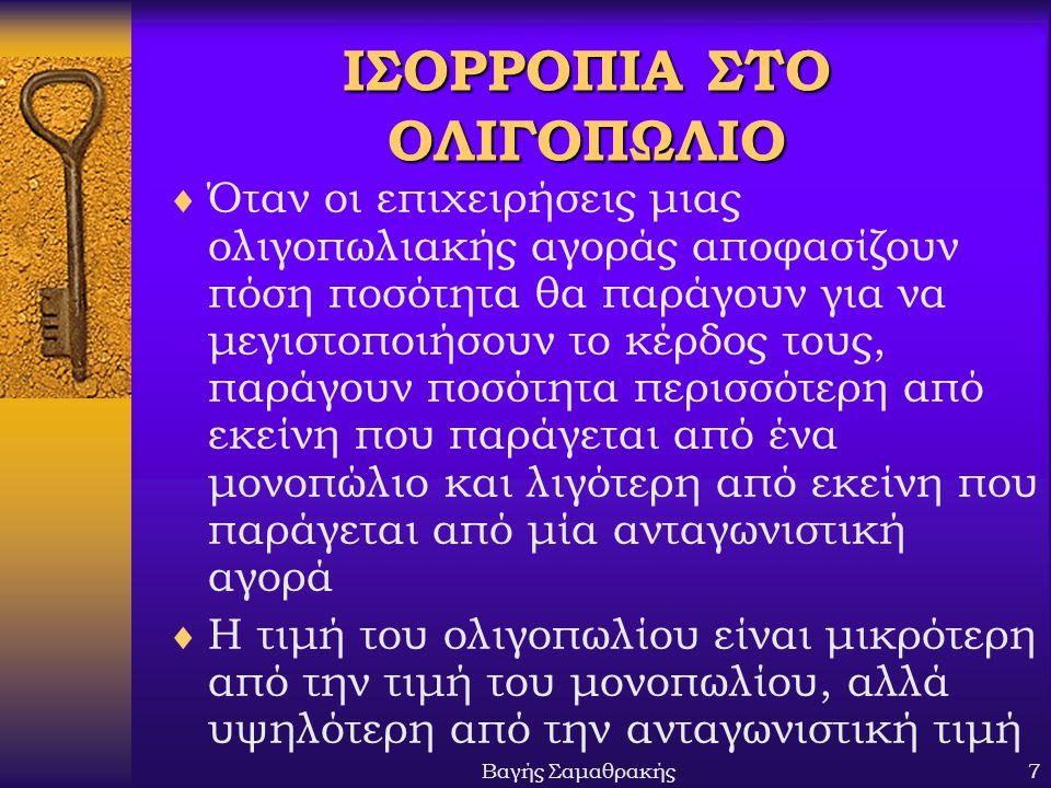 ΙΣΟΡΡΟΠΙΑ ΣΤΟ ΟΛΙΓΟΠΩΛΙΟ