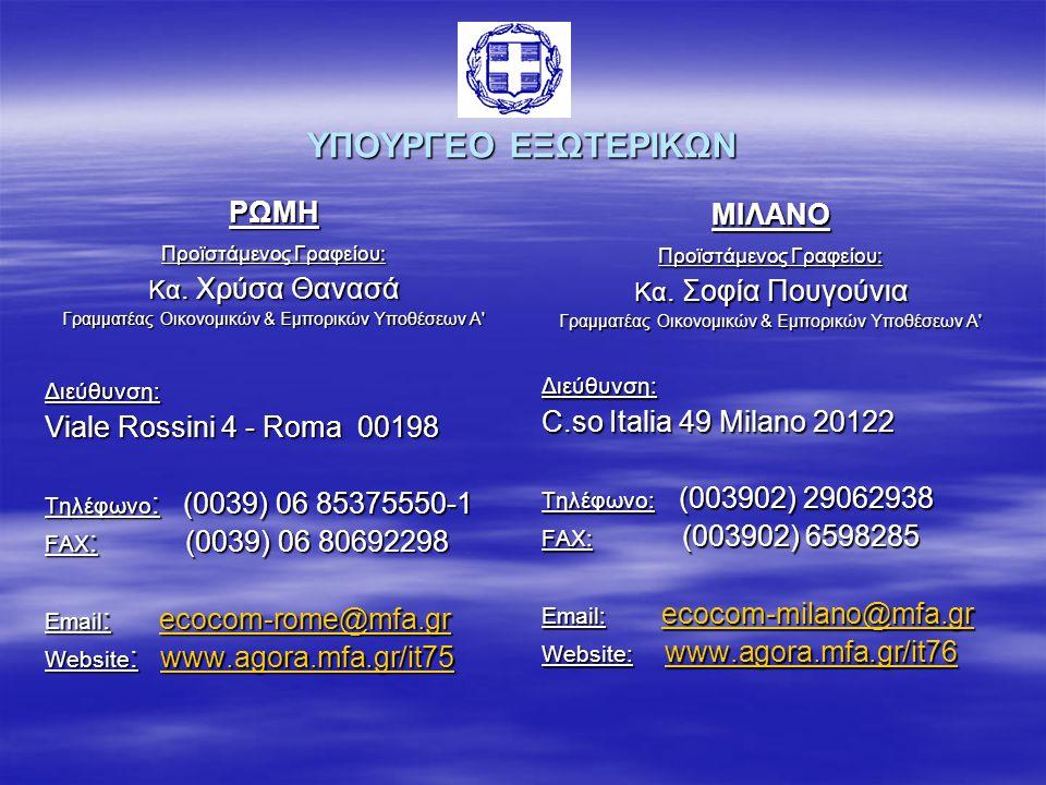 ΥΠΟΥΡΓΕΟ ΕΞΩTΕΡΙΚΩΝ ΡΩΜΗ ΜΙΛΑΝΟ Viale Rossini 4 - Roma 00198