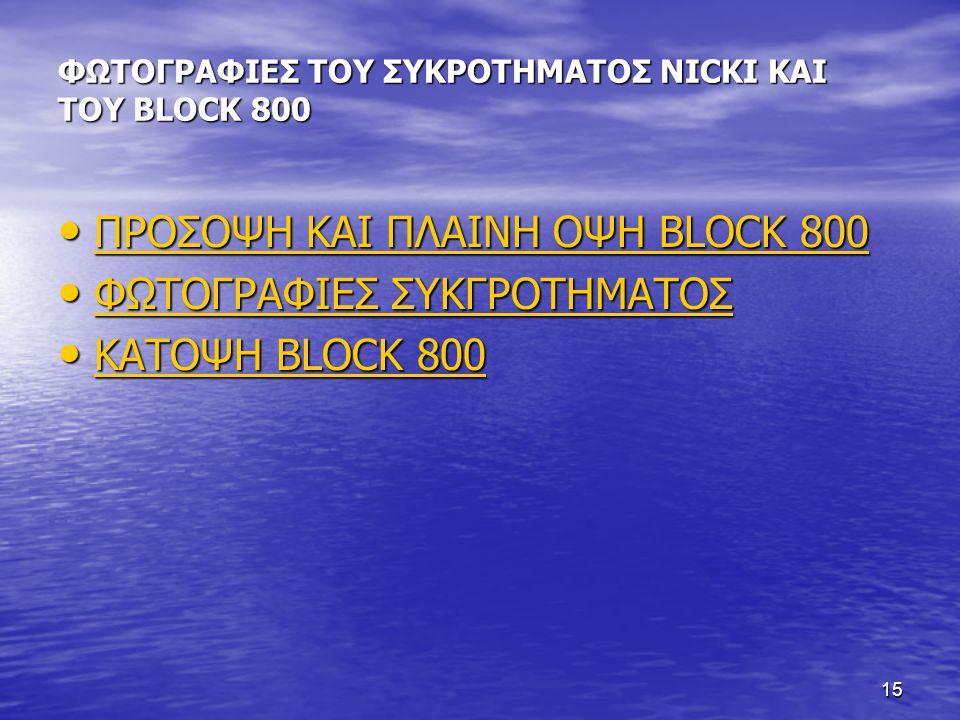 ΦΩΤΟΓΡΑΦΙΕΣ ΤΟΥ ΣΥΚΡΟΤΗΜΑΤΟΣ ΝΙCKI KAI ΤΟΥ BLOCK 800