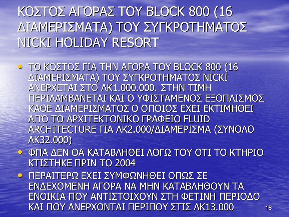 ΚΟΣΤΟΣ ΑΓΟΡΑΣ ΤΟΥ BLOCK 800 (16 ΔΙΑΜΕΡΙΣΜΑΤΑ) ΤΟΥ ΣΥΓΚΡΟΤΗΜΑΤΟΣ NICKI HOLIDAY RESORT