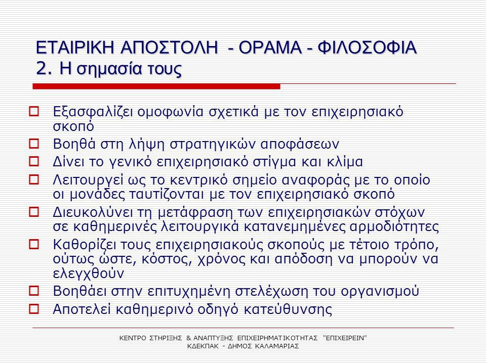 ΕΤΑΙΡΙΚΗ ΑΠΟΣΤΟΛΗ - ΟΡΑΜΑ - ΦΙΛΟΣΟΦΙΑ 2. Η σημασία τους