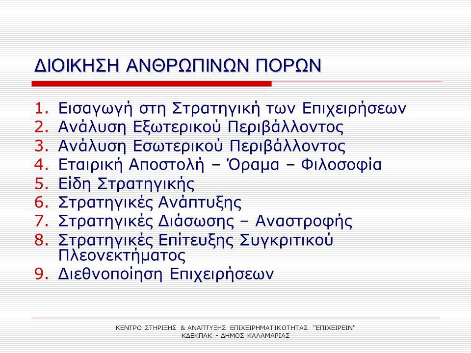 ΔΙΟΙΚΗΣΗ ΑΝΘΡΩΠΙΝΩΝ ΠΟΡΩΝ