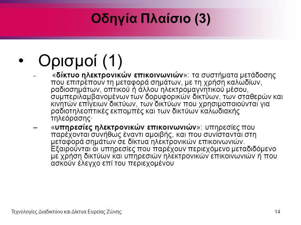 Ορισμοί (1) Οδηγία Πλαίσιο (3)