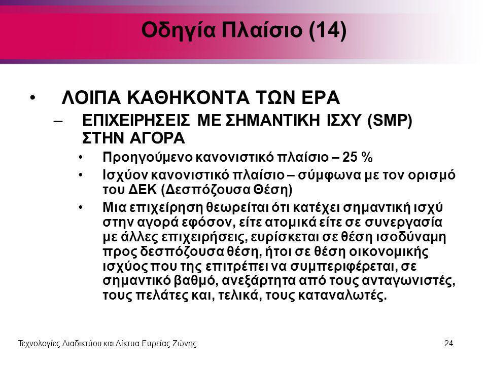 Οδηγία Πλαίσιο (14) ΛΟΙΠΑ ΚΑΘΗΚΟΝΤΑ ΤΩΝ ΕΡΑ