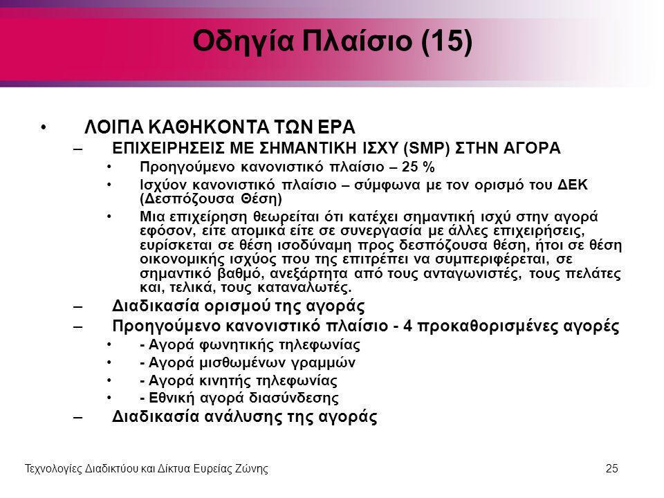 Οδηγία Πλαίσιο (15) ΛΟΙΠΑ ΚΑΘΗΚΟΝΤΑ ΤΩΝ ΕΡΑ