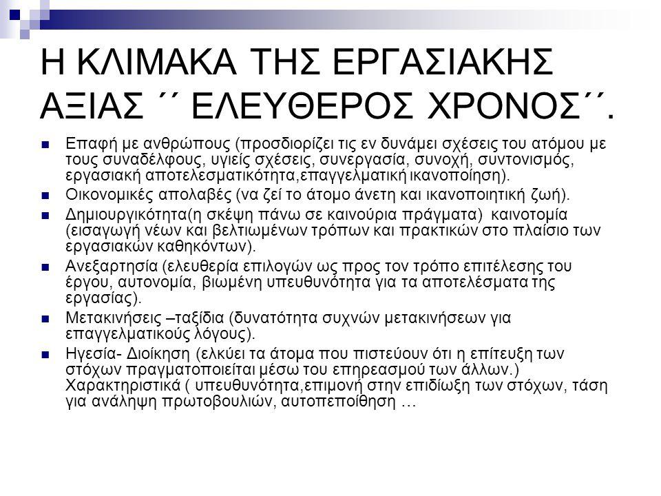 Η ΚΛΙΜΑΚΑ ΤΗΣ ΕΡΓΑΣΙΑΚΗΣ ΑΞΙΑΣ ΄΄ ΕΛΕΥΘΕΡΟΣ ΧΡΟΝΟΣ΄΄.