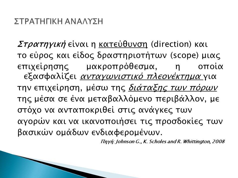 Στρατηγική είναι η κατεύθυνση (direction) και