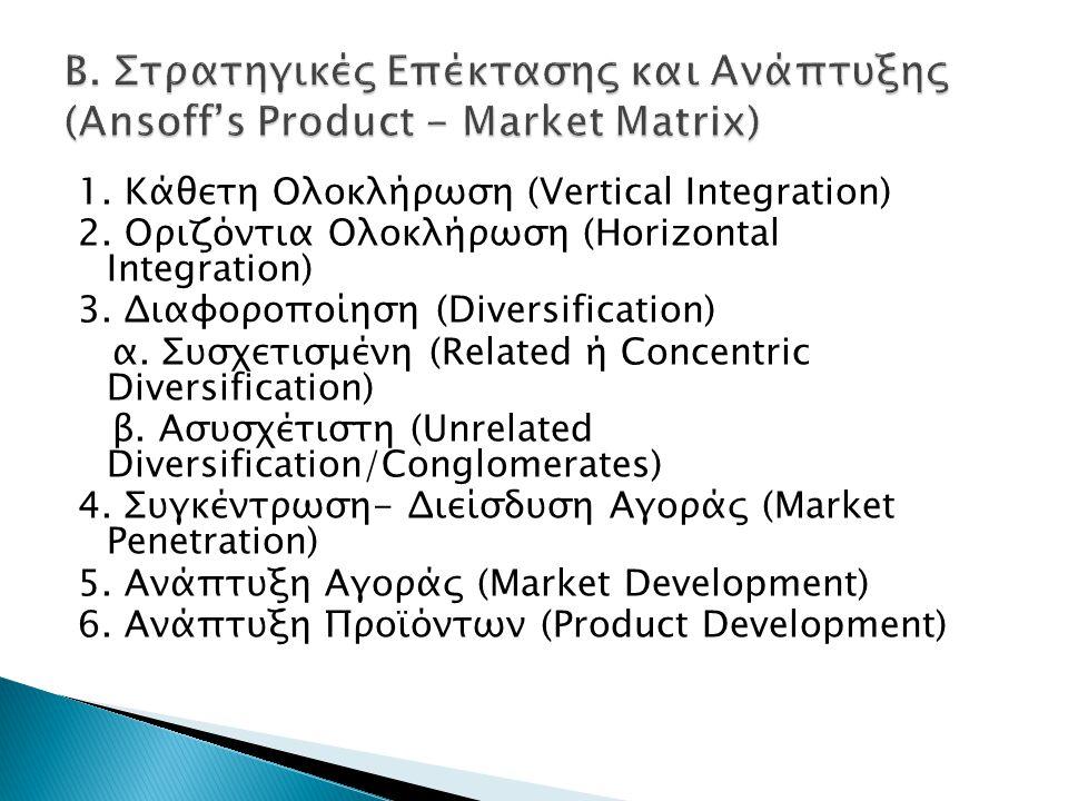Β. Στρατηγικές Επέκτασης και Ανάπτυξης (Ansoff's Product - Market Matrix)