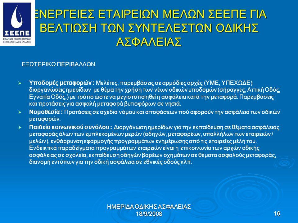 ΗΜΕΡΙΔΑ ΟΔΙΚΗΣ ΑΣΦΑΛΕΙΑΣ 18/9/2008