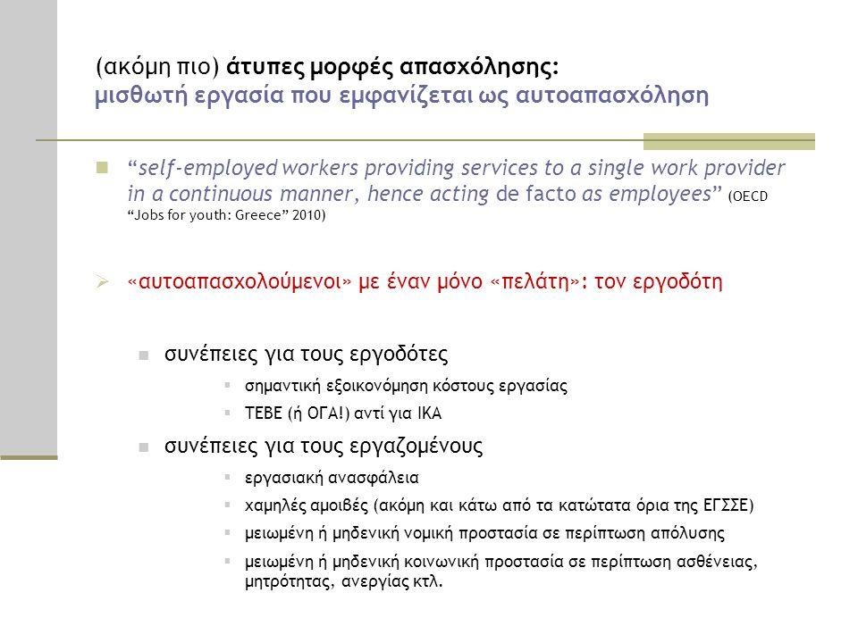 (ακόμη πιο) άτυπες μορφές απασχόλησης: μισθωτή εργασία που εμφανίζεται ως αυτοαπασχόληση
