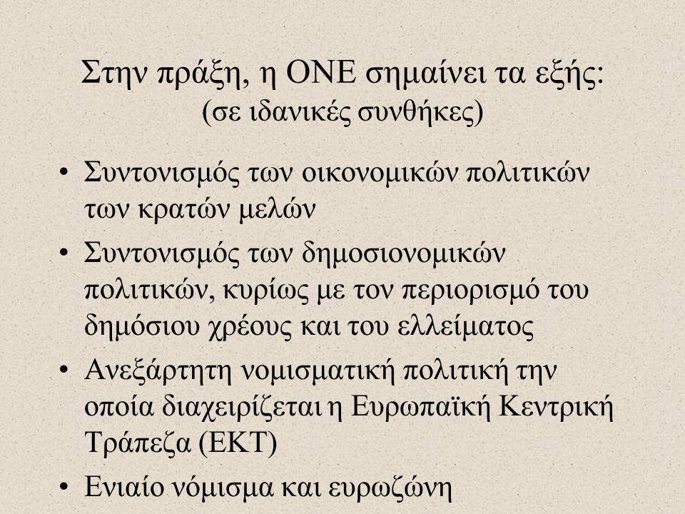Στην πράξη, η ΟΝΕ σημαίνει τα εξής: (σε ιδανικές συνθήκες)