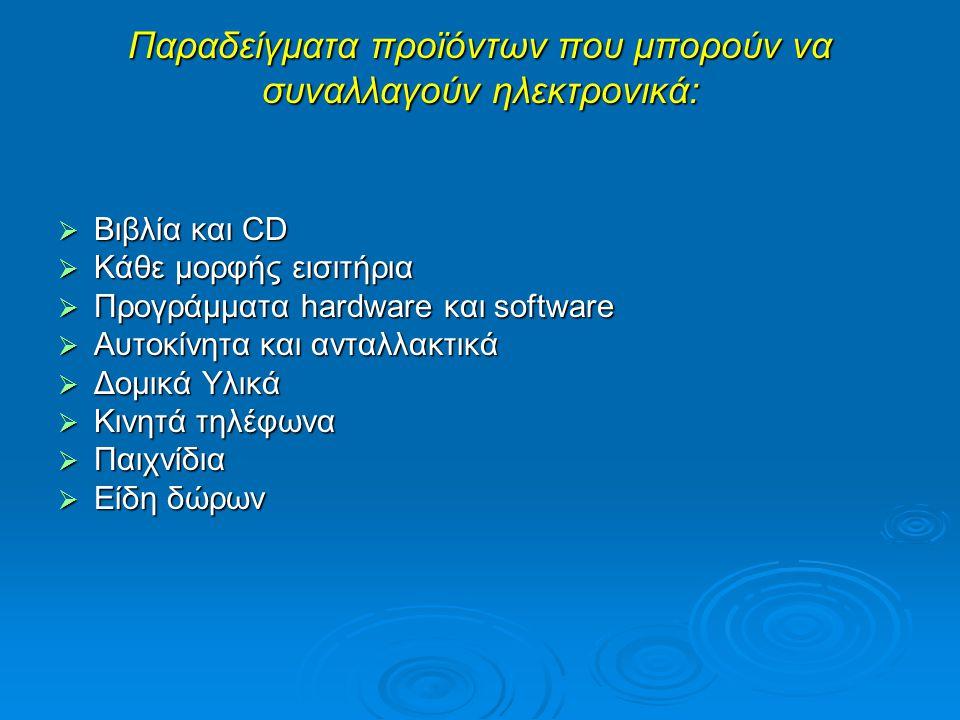 Παραδείγματα προϊόντων που μπορούν να συναλλαγούν ηλεκτρονικά: