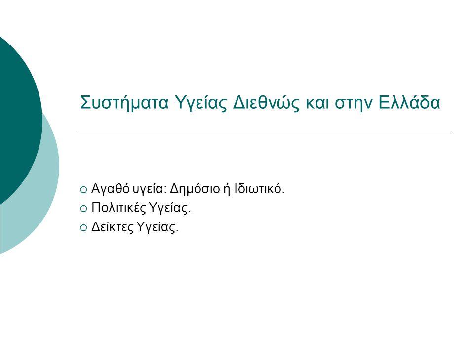 Συστήματα Υγείας Διεθνώς και στην Ελλάδα