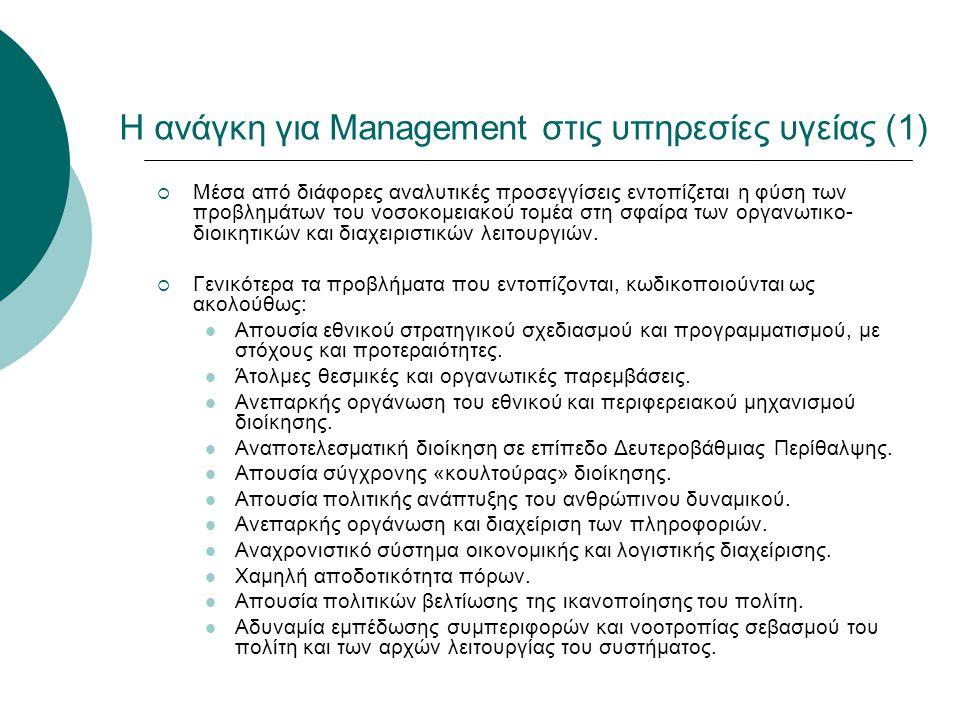 Η ανάγκη για Management στις υπηρεσίες υγείας (1)