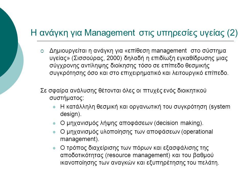 Η ανάγκη για Management στις υπηρεσίες υγείας (2)