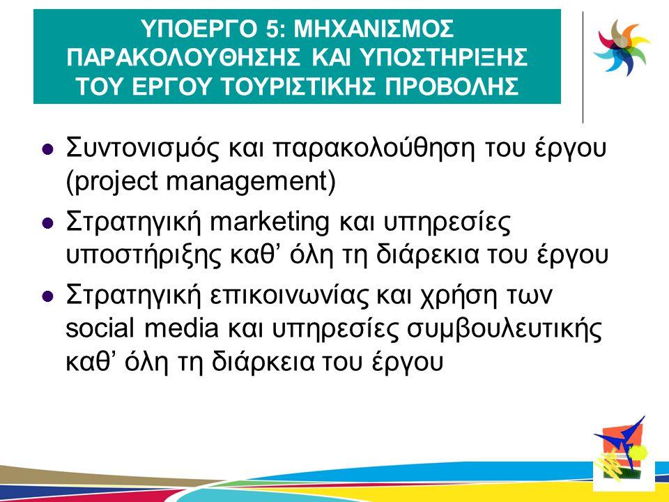 Συντονισμός και παρακολούθηση του έργου (project management)