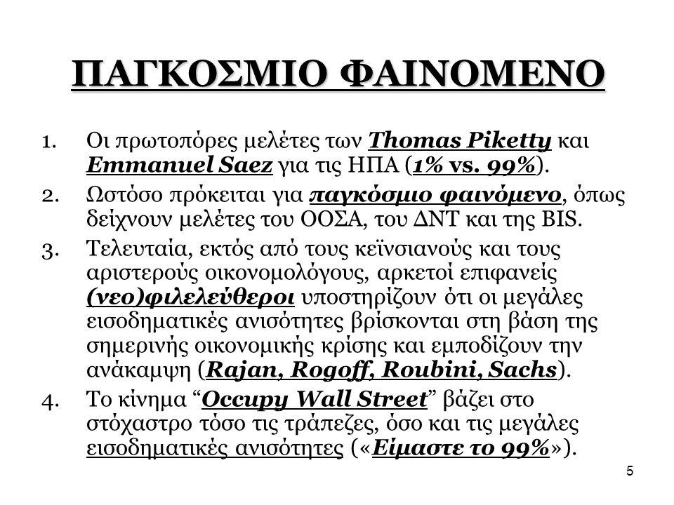 ΠΑΓΚΟΣΜΙΟ ΦΑΙΝΟΜΕΝΟ Οι πρωτοπόρες μελέτες των Thomas Piketty και Emmanuel Saez για τις ΗΠΑ (1% vs. 99%).