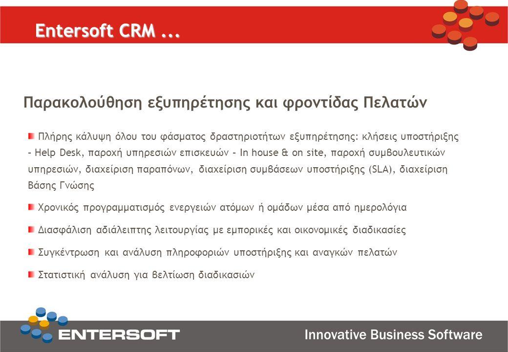 Entersoft CRM ... Παρακολούθηση εξυπηρέτησης και φροντίδας Πελατών