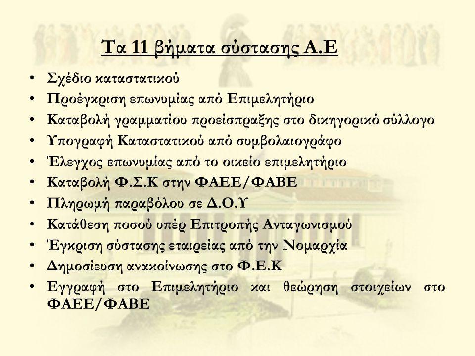 Τα 11 βήματα σύστασης Α.Ε Σχέδιο καταστατικού