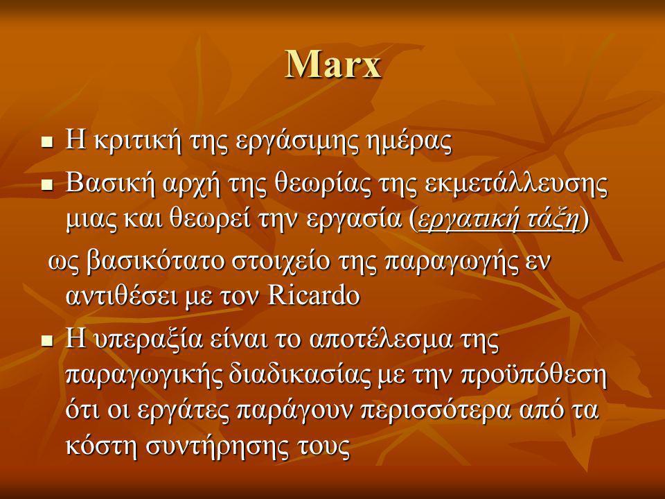 Marx Η κριτική της εργάσιμης ημέρας