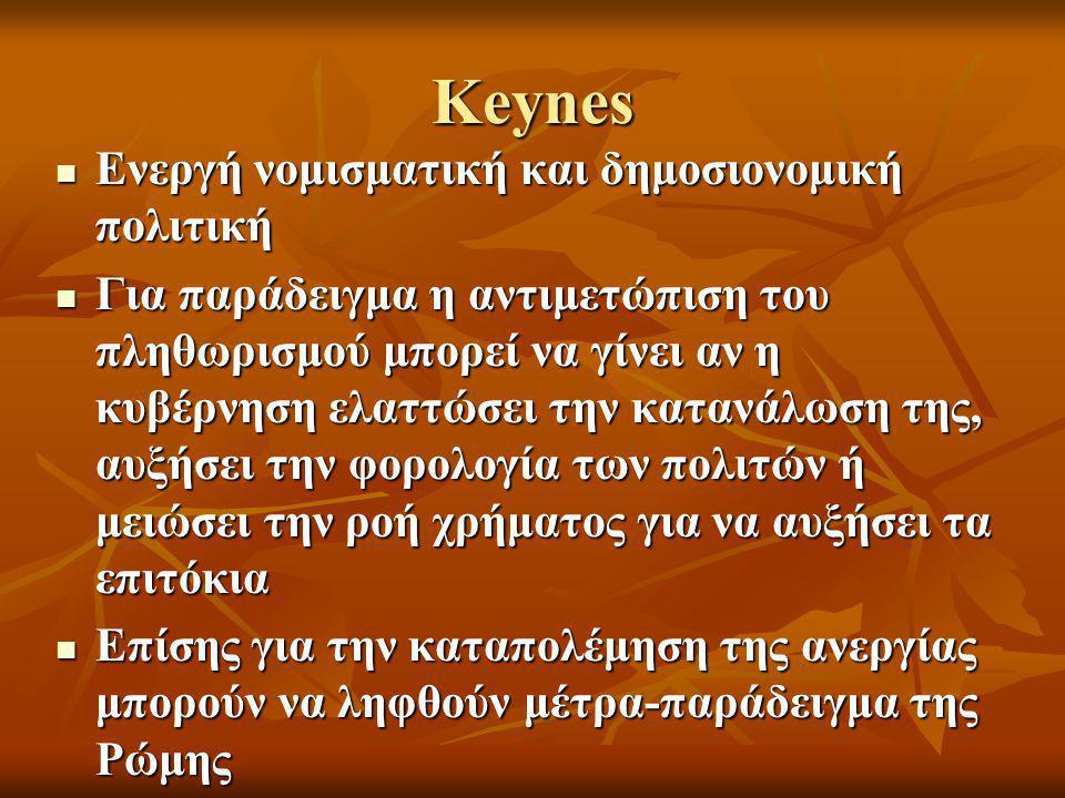 Keynes Ενεργή νομισματική και δημοσιονομική πολιτική