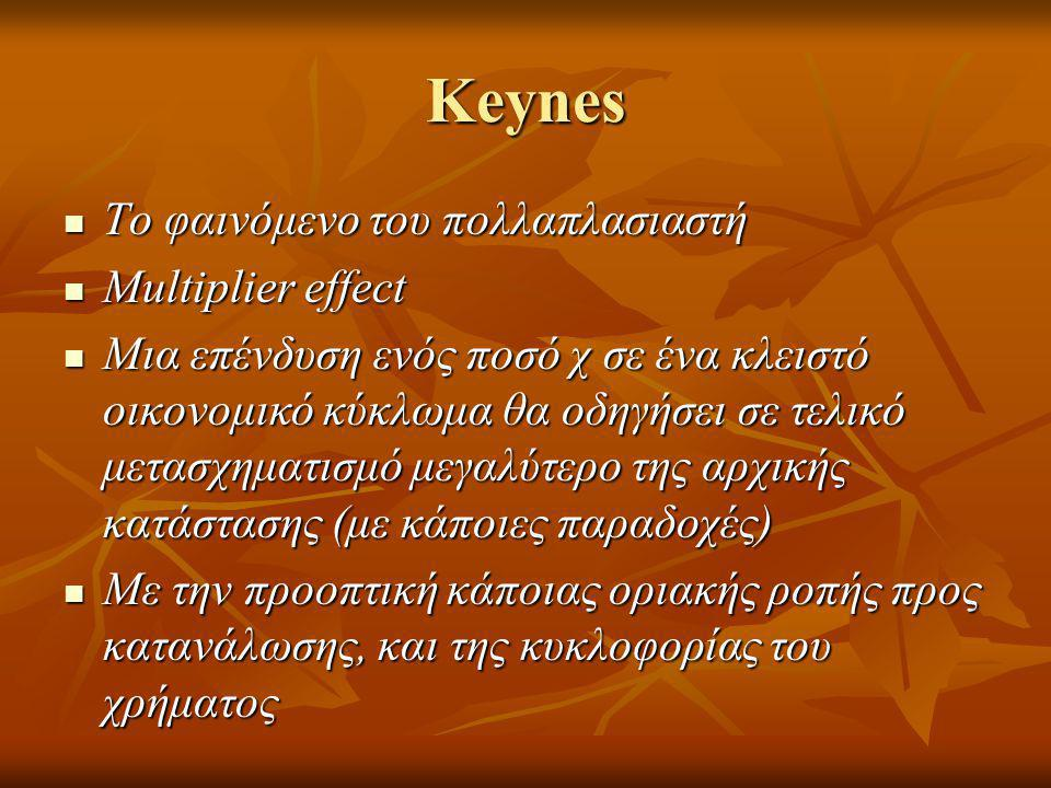 Keynes Το φαινόμενο του πολλαπλασιαστή Multiplier effect