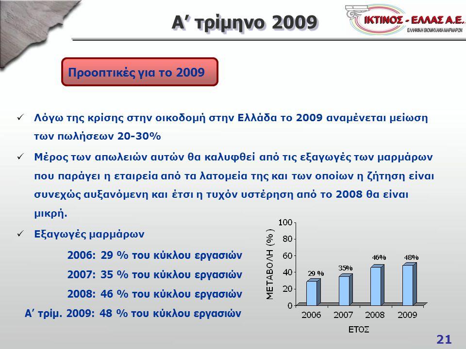Α' τρίμηνο 2009 Προοπτικές για το 2009 2006: 29 % του κύκλου εργασιών