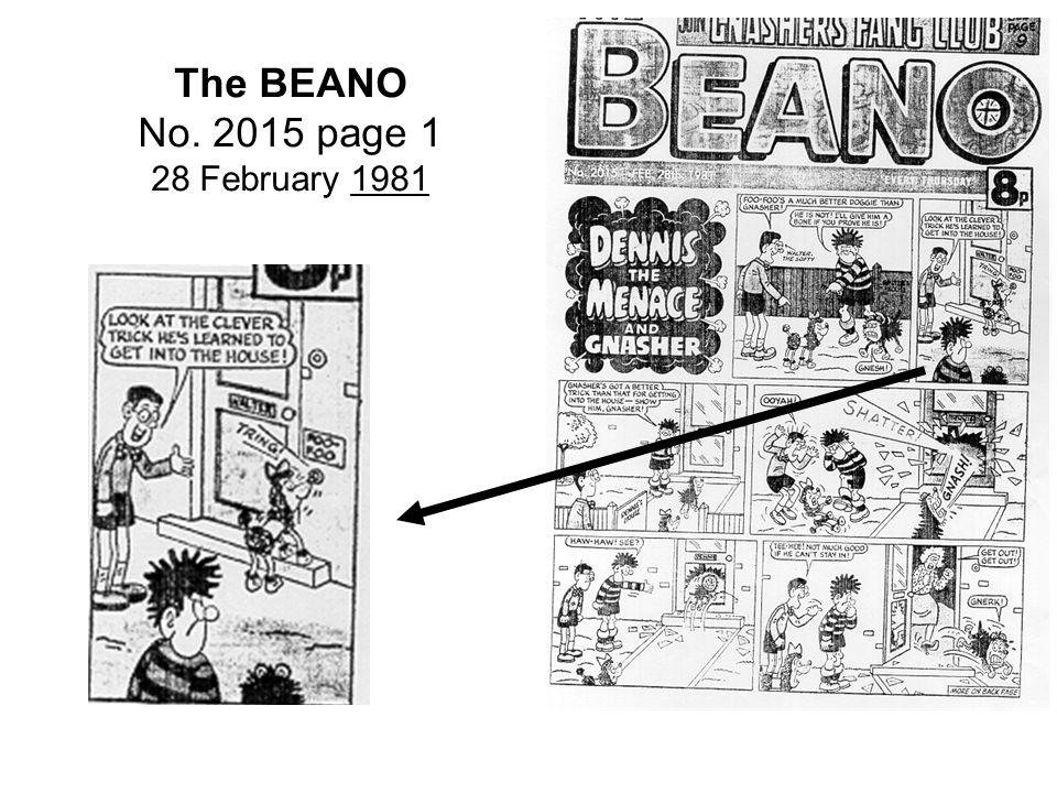 The BEANO No. 2015 page 1 28 February 1981