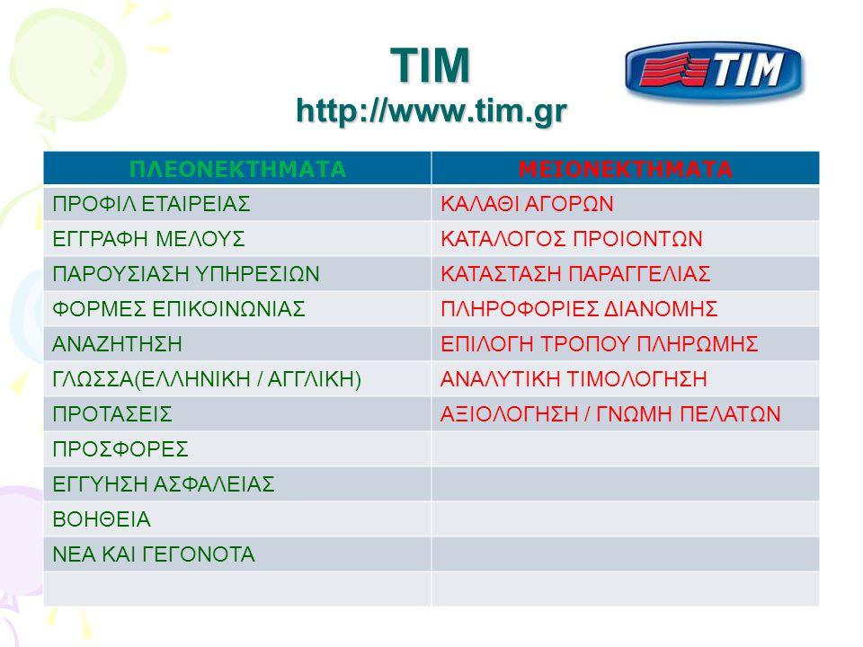 TIM http://www.tim.gr ΠΛΕΟΝΕΚΤΗΜΑΤΑ ΜΕΙΟΝΕΚΤΗΜΑΤΑ ΠΡΟΦΙΛ ΕΤΑΙΡΕΙΑΣ