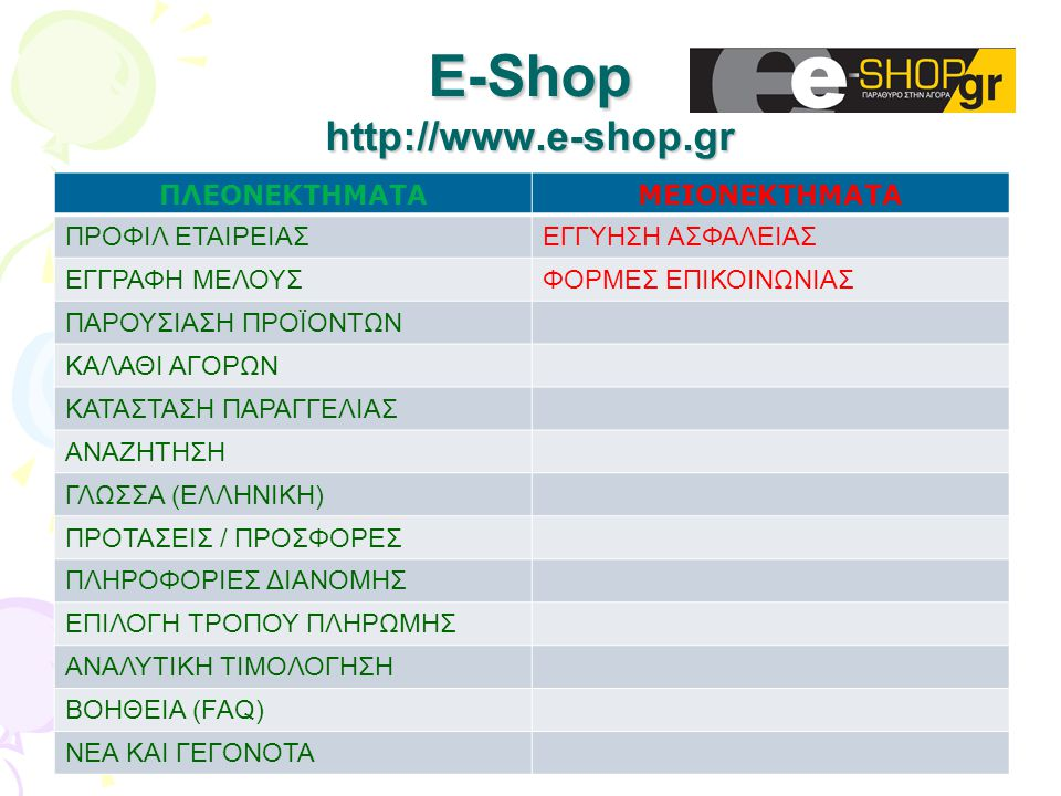 Ε-Shop http://www.e-shop.gr