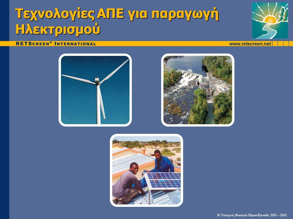 Τεχνολογίες ΑΠΕ για παραγωγή Ηλεκτρισμού