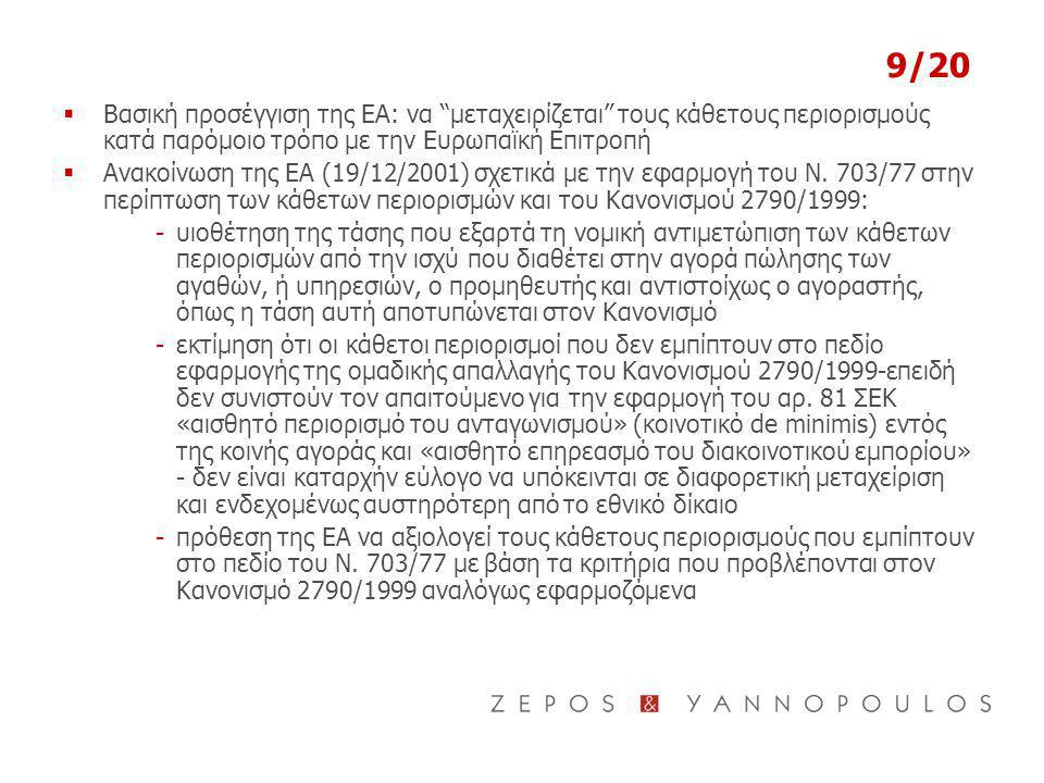 9/20 Βασική προσέγγιση της ΕΑ: να μεταχειρίζεται τους κάθετους περιορισμούς κατά παρόμοιο τρόπο με την Ευρωπαϊκή Επιτροπή.