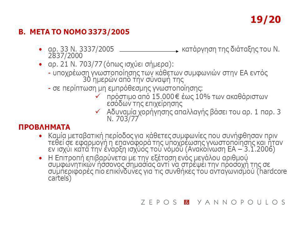 19/20 Β. ΜΕΤΑ ΤΟ ΝΟΜΟ 3373/2005. αρ. 33 Ν. 3337/2005 κατάργηση της διάταξης του Ν. 2837/2000.
