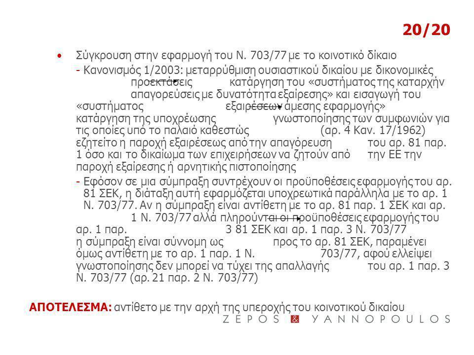 20/20 Σύγκρουση στην εφαρμογή του Ν. 703/77 με το κοινοτικό δίκαιο