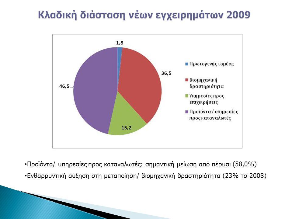 Κλαδική διάσταση νέων εγχειρημάτων 2009