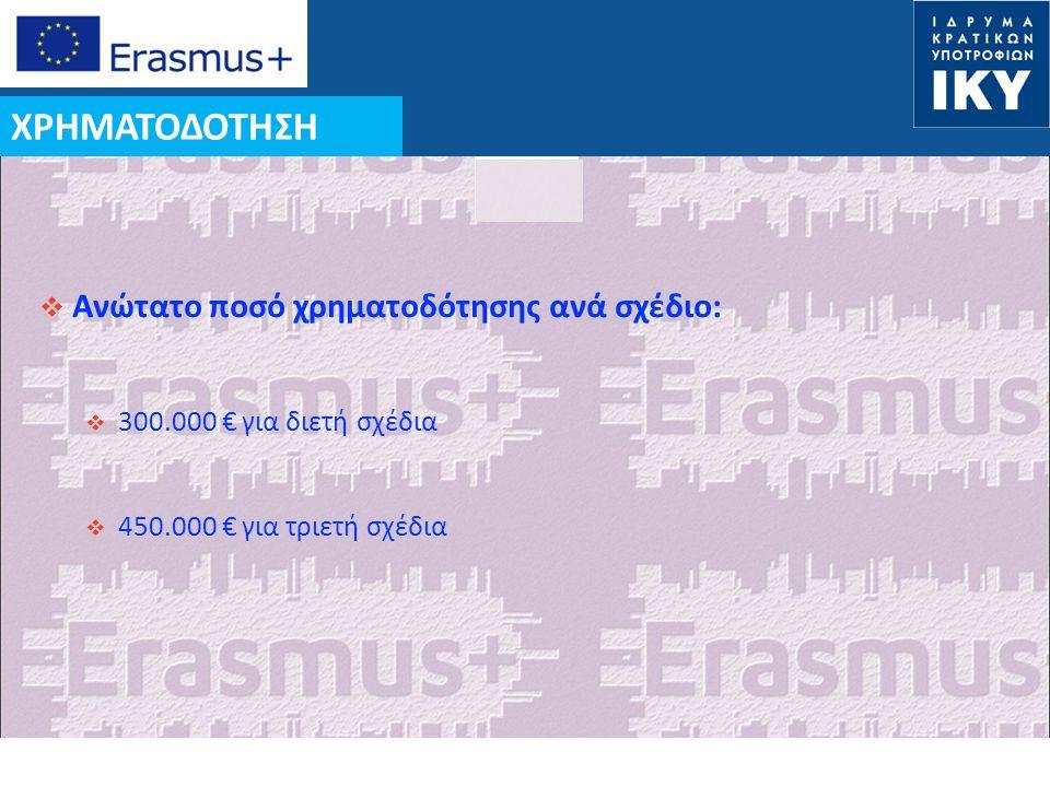 ΧΡΗΜΑΤΟΔΟΤΗΣΗ Ανώτατο ποσό χρηματοδότησης ανά σχέδιο: