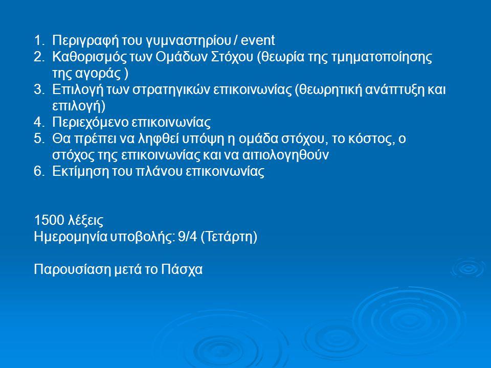 Περιγραφή του γυμναστηρίου / event