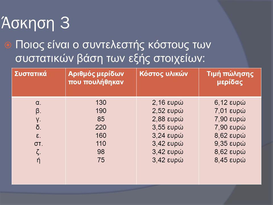 Άσκηση 3 Ποιος είναι ο συντελεστής κόστους των συστατικών βάση των εξής στοιχείων: Συστατικά. Αριθμός μερίδων που πουλήθηκαν.