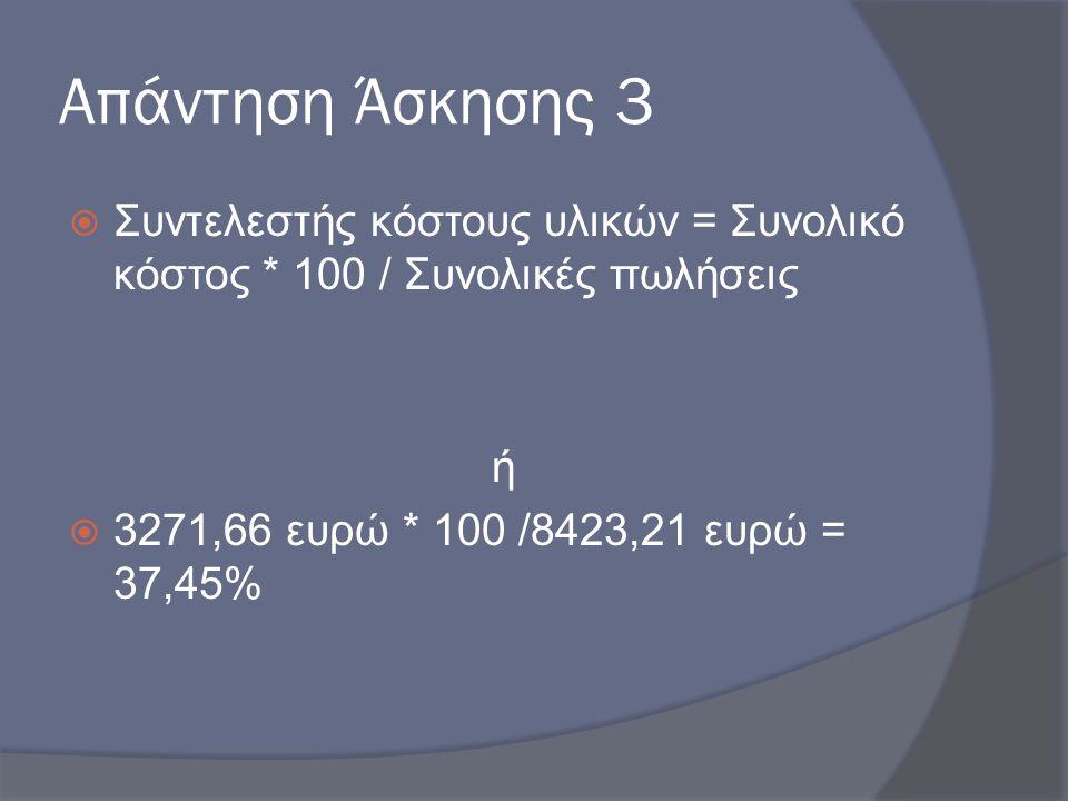 Απάντηση Άσκησης 3 Συντελεστής κόστους υλικών = Συνολικό κόστος * 100 / Συνολικές πωλήσεις.
