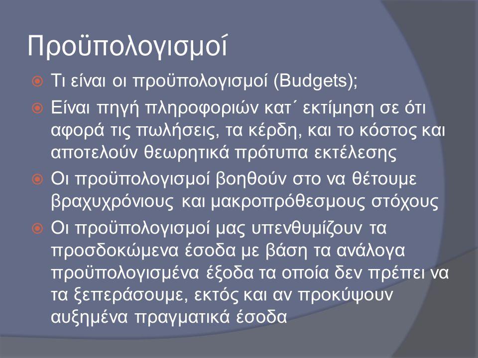 Προϋπολογισμοί Τι είναι οι προϋπολογισμοί (Budgets);