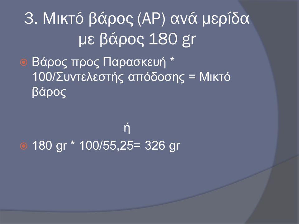 3. Μικτό βάρος (AP) ανά μερίδα με βάρος 180 gr