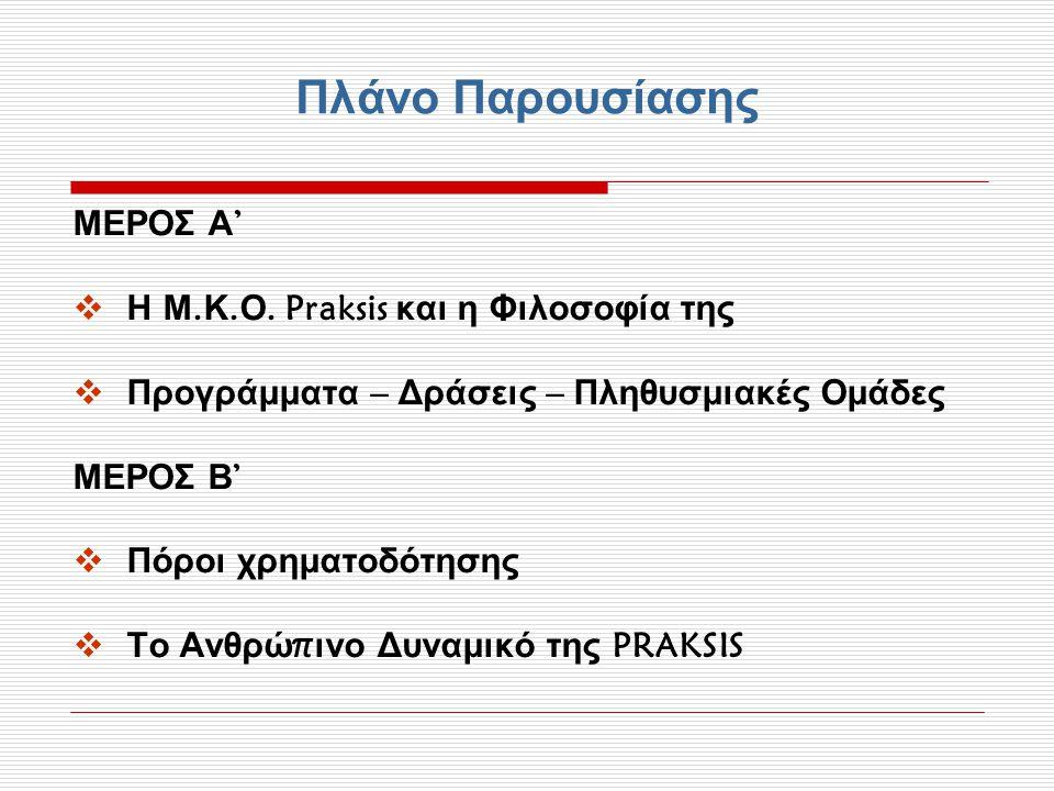 Πλάνο Παρουσίασης ΜΕΡΟΣ Α' Η Μ.Κ.Ο. Praksis και η Φιλοσοφία της