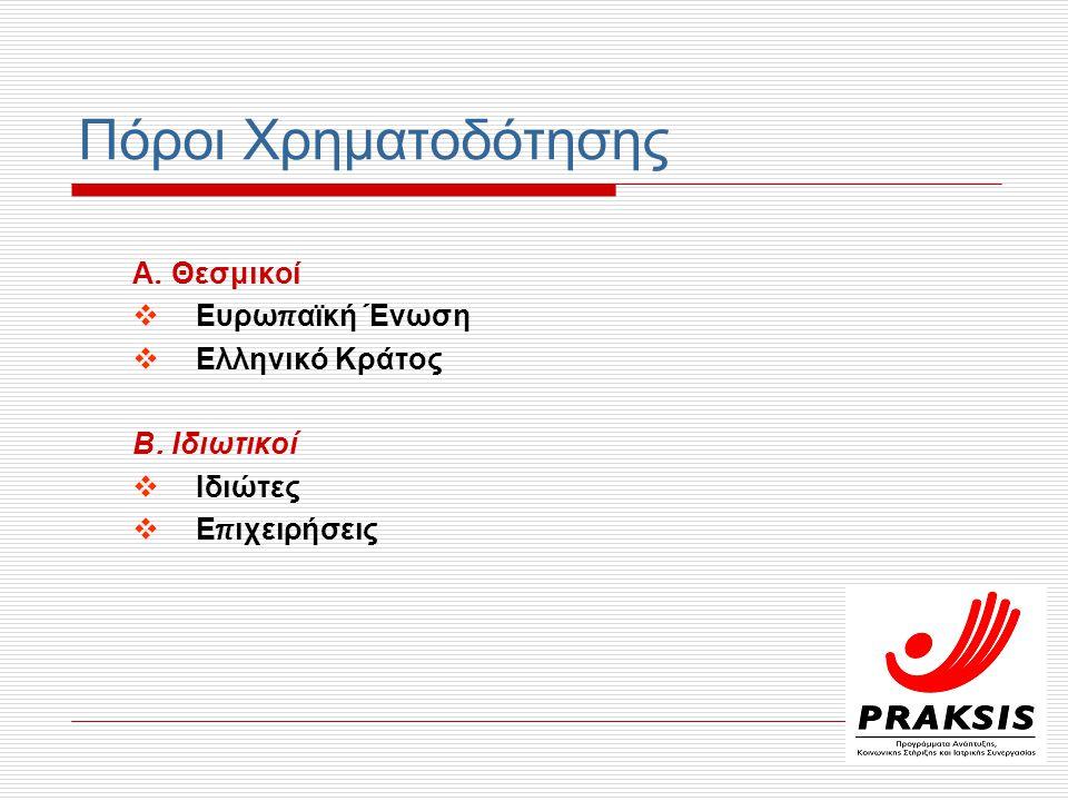 Πόροι Χρηματοδότησης Α. Θεσμικοί Ευρωπαϊκή Ένωση Ελληνικό Κράτος