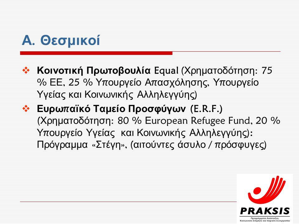 Α. Θεσμικοί Κοινοτική Πρωτοβουλία Equal (Χρηματοδότηση: 75 % ΕΕ, 25 % Υπουργείο Απασχόλησης, Υπουργείο Υγείας και Κοινωνικής Αλληλεγγύης)