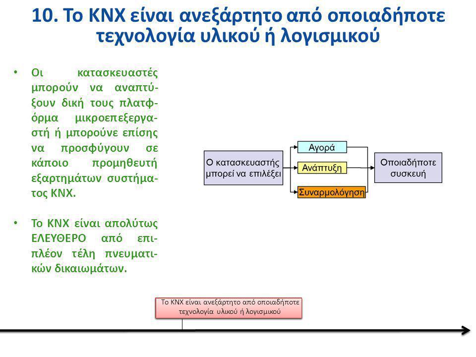 10. Το KNX είναι ανεξάρτητο από οποιαδήποτε τεχνολογία υλικού ή λογισμικού