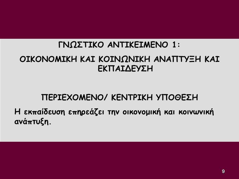 ΓΝΩΣΤΙΚΟ ΑΝΤΙΚΕΙΜΕΝΟ 1: