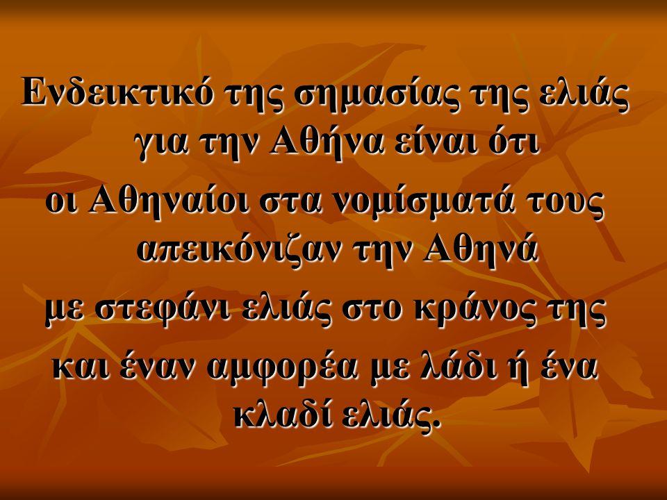 Ενδεικτικό της σημασίας της ελιάς για την Αθήνα είναι ότι
