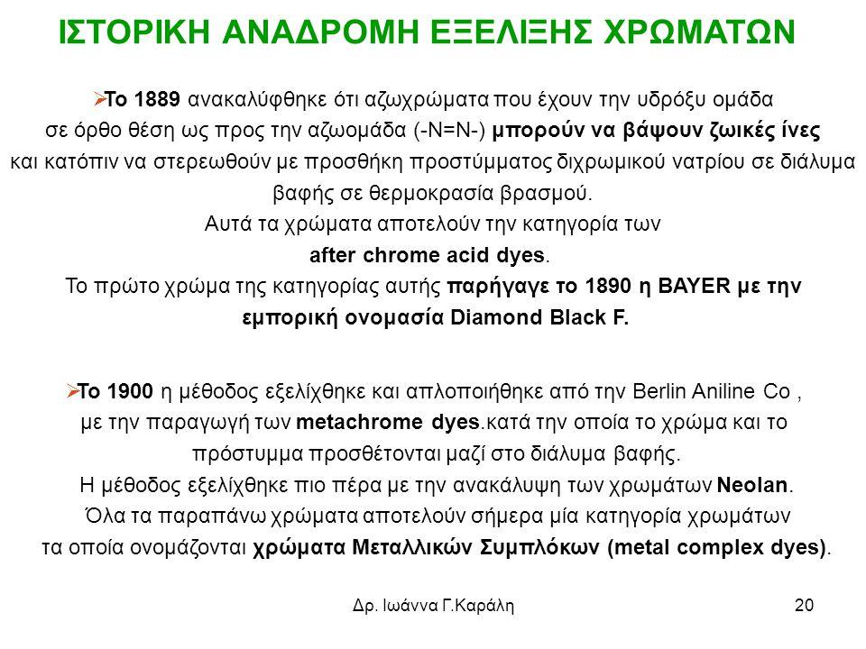 ΙΣΤΟΡΙΚΗ ΑΝΑΔΡΟΜΗ ΕΞΕΛΙΞΗΣ ΧΡΩΜΑΤΩΝ εμπορική ονομασία Diamond Black F.