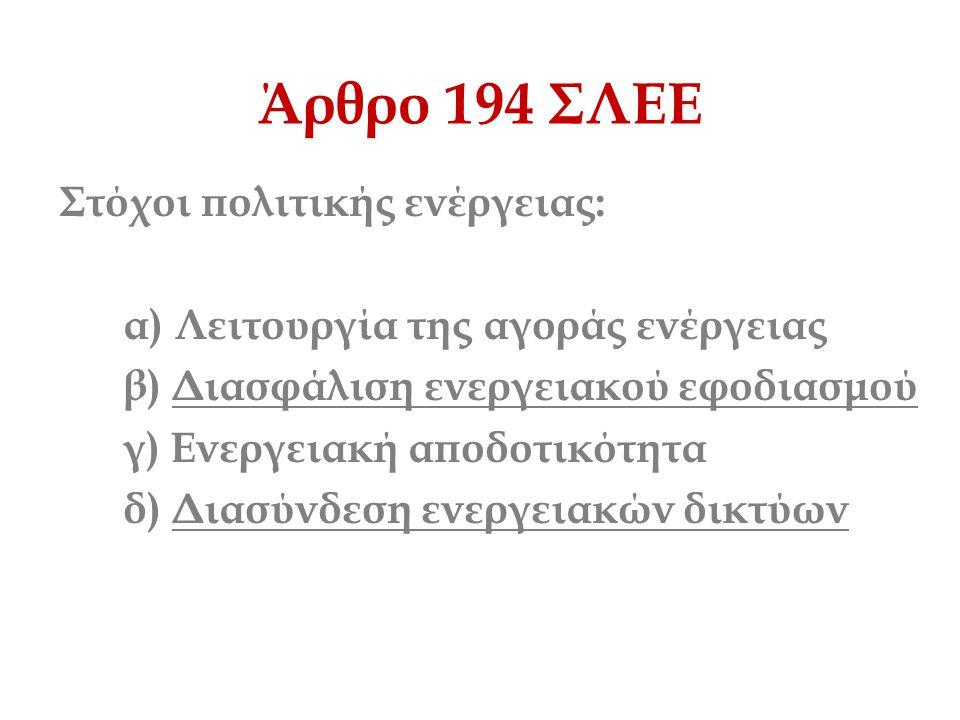 Άρθρο 194 ΣΛΕΕ Στόχοι πολιτικής ενέργειας: